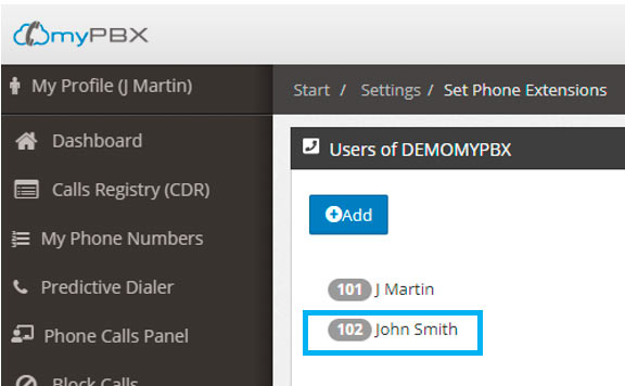 create pbx extension done