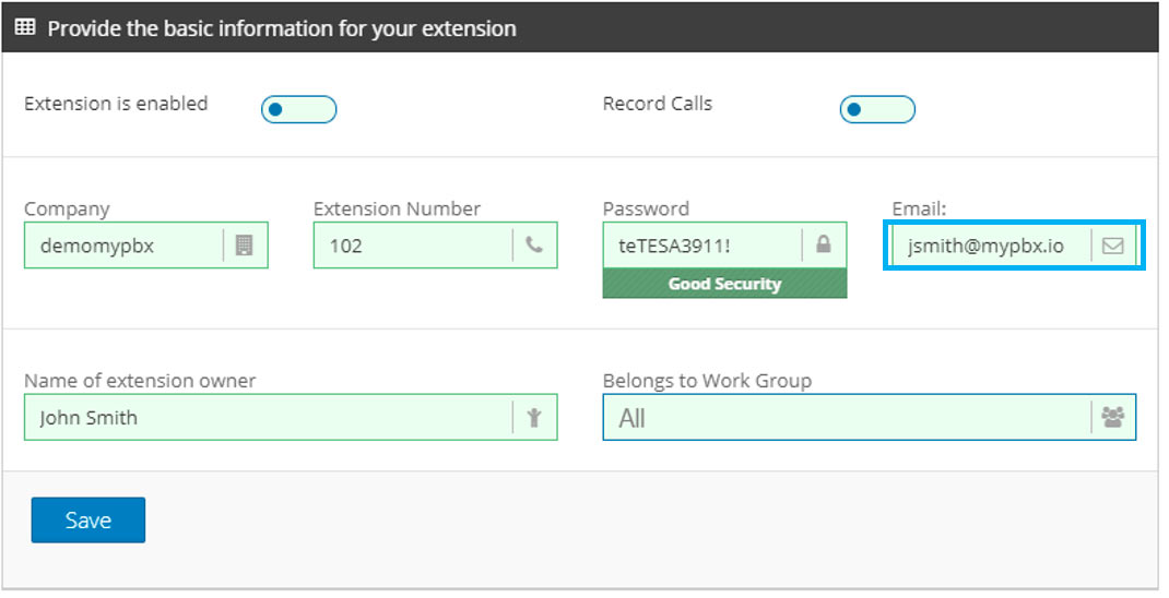 create pbx extension email