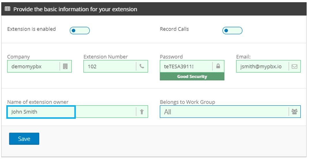 create pbx extension name