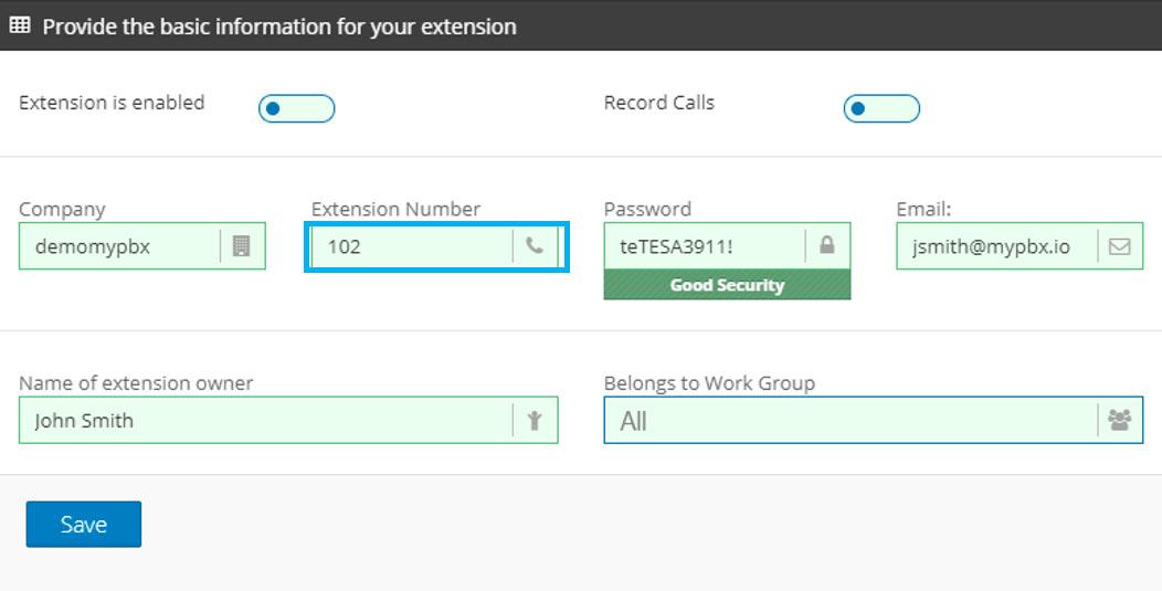 create pbx extension number