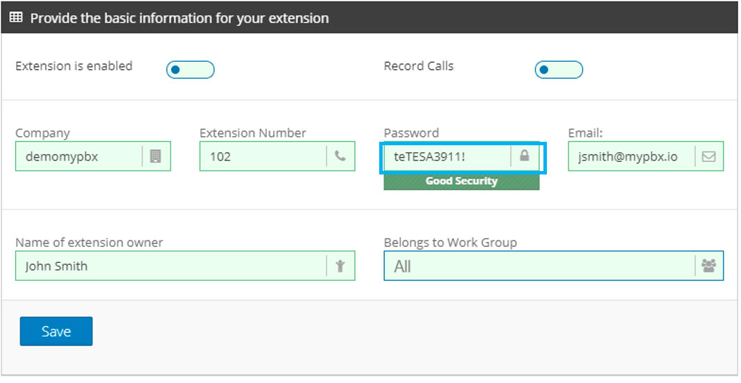 create pbx extension password