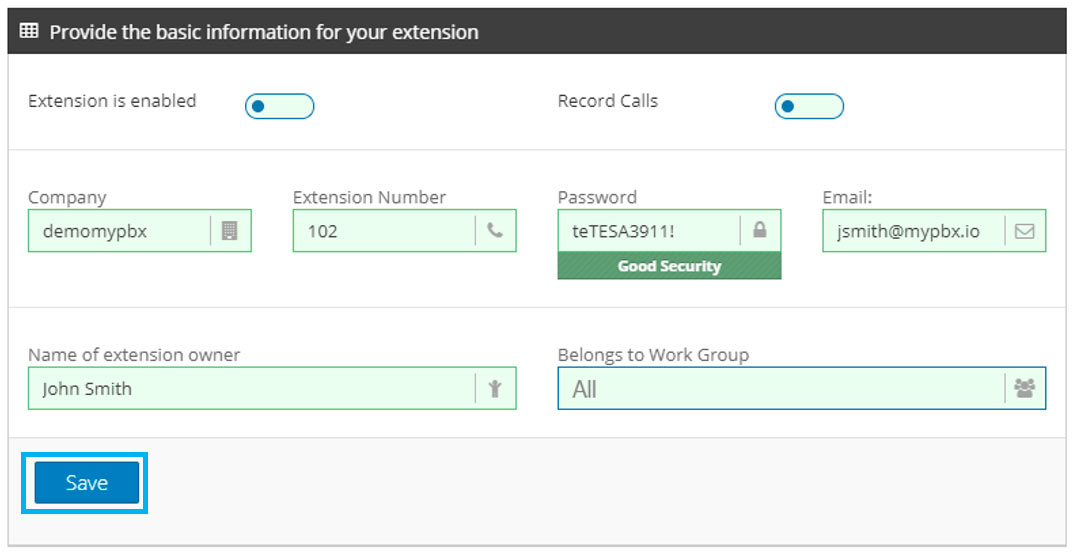 create pbx extension save