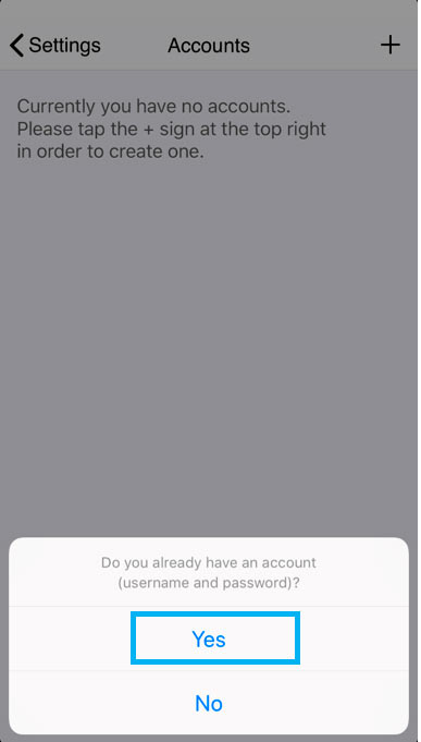 iphone zoiper already have account