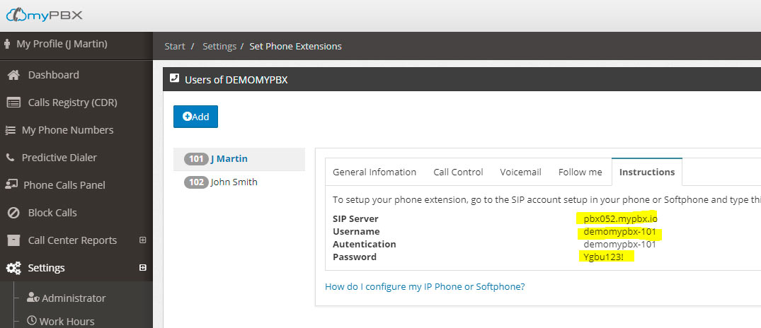configuring phone zoiper extension info