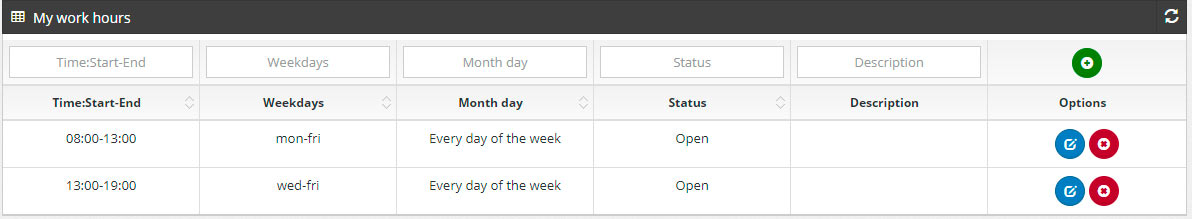 pbx working schedule