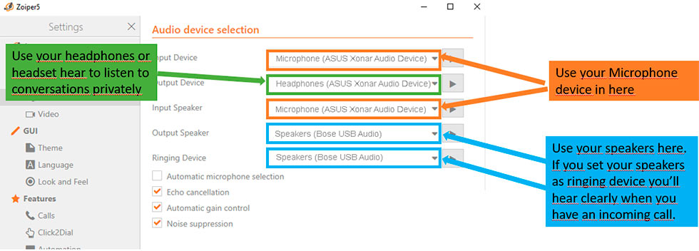 zoiper audio settings verification