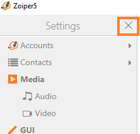 zoiper close settings