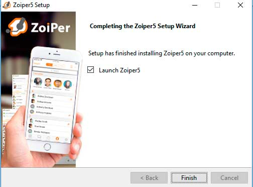 install zoiper finished