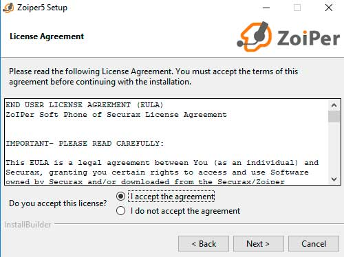 install zoiper license agreement